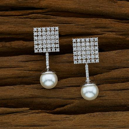52910 CZ Short Earring with rhodium plating