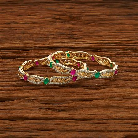 52967 CZ Classic Bangles with 2 tone plating