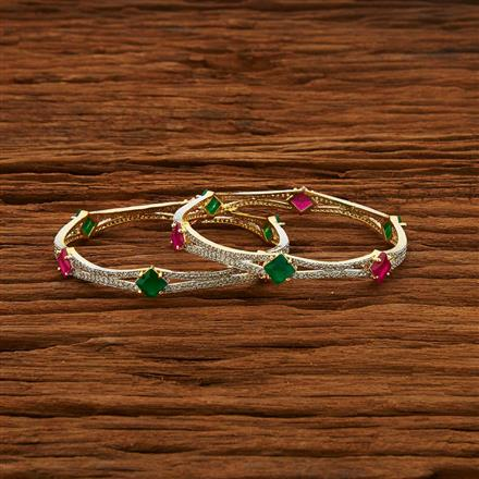 52968 CZ Classic Bangles with 2 tone plating