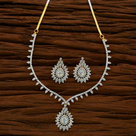 52970 CZ Delicate Necklace with 2 tone plating