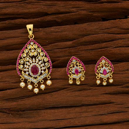 52973 CZ Classic Pendant Set with gold plating