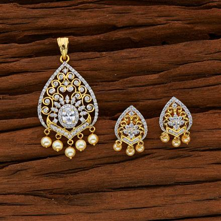 52975 CZ Classic Pendant Set with 2 tone plating