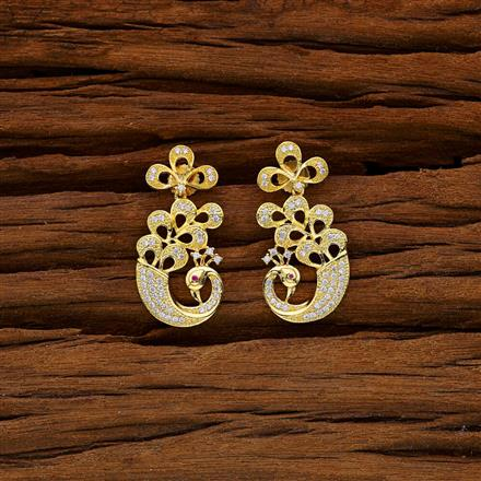 52997 CZ Short Earring with gold plating