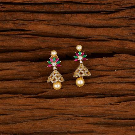 52998 American Diamond Jhumki with gold plating