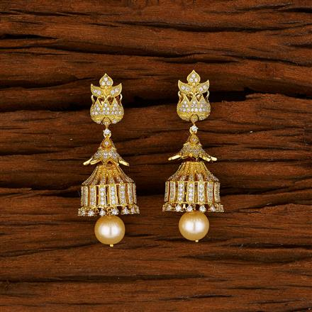 52999 American Diamond Jhumki with gold plating