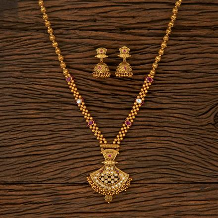 530001 Antique Mala Pendant Set With Matte Gold Plating