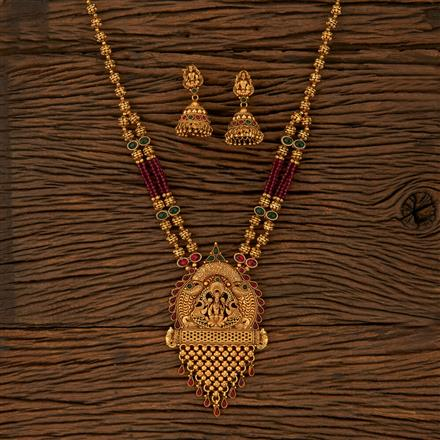 530002 Antique Temple Pendant Set With Matte Gold Plating