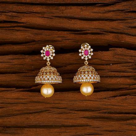 53000 American Diamond Jhumki with gold plating