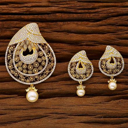53001 CZ Classic Pendant Set with gold plating