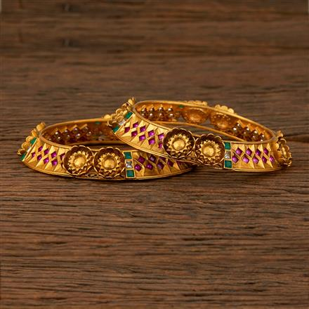 530023 Antique Classic Bangles With Matte Gold Plating