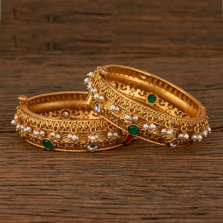 530029 Antique Openable Bangles With Matte Gold Plating