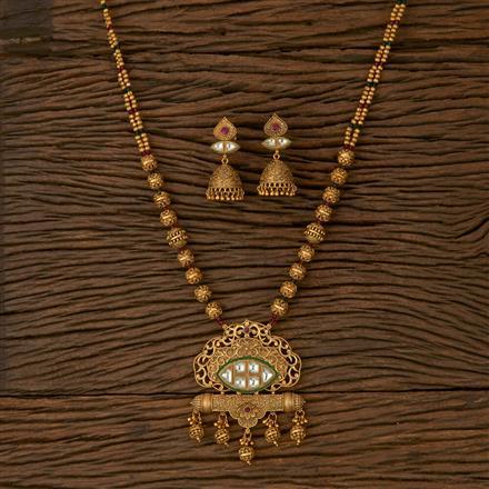 530037 Antique Mala Pendant set with Matte Gold Plating