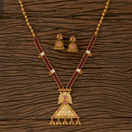 530038 Antique Mala Pendant set with Matte Gold Plating