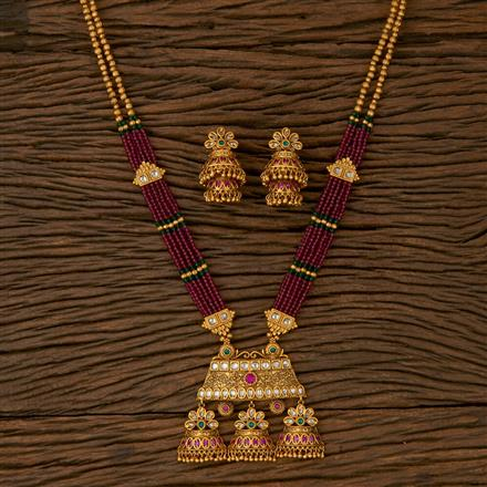 530039 Antique Mala Pendant set with Matte Gold Plating