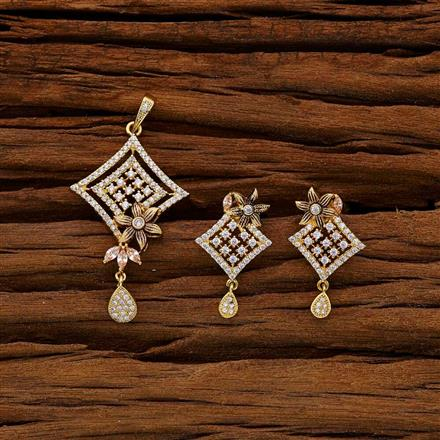 53003 CZ Classic Pendant Set with gold plating