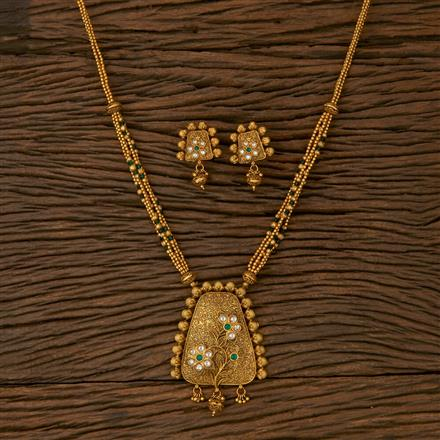 530040 Antique Mala Pendant set with Matte Gold Plating