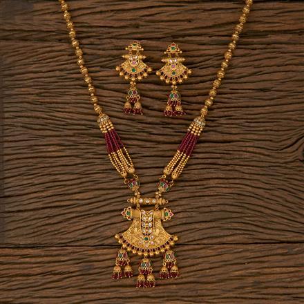 530042 Antique Mala Pendant set with Matte Gold Plating