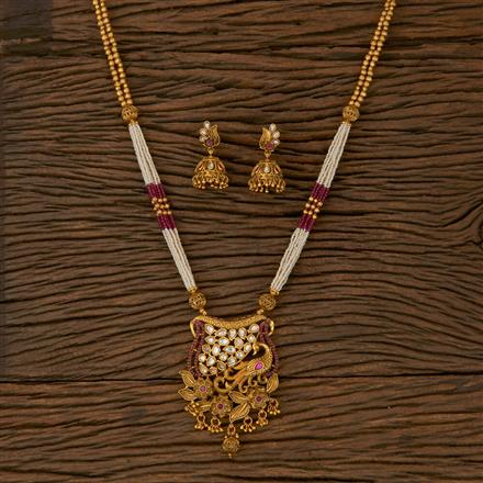 530043 Antique Peacock Pendant set with Matte Gold Plating