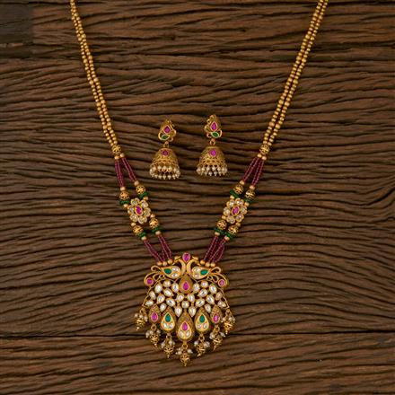 530044 Antique Peacock Pendant set with Matte Gold Plating