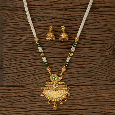 530045 Antique Mala Pendant set with Matte Gold Plating