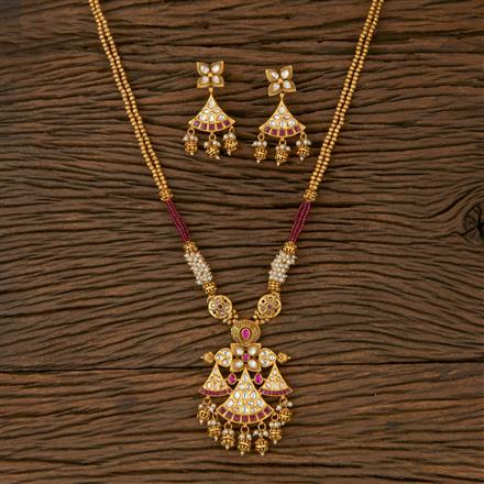 530046 Antique Mala Pendant set with Matte Gold Plating