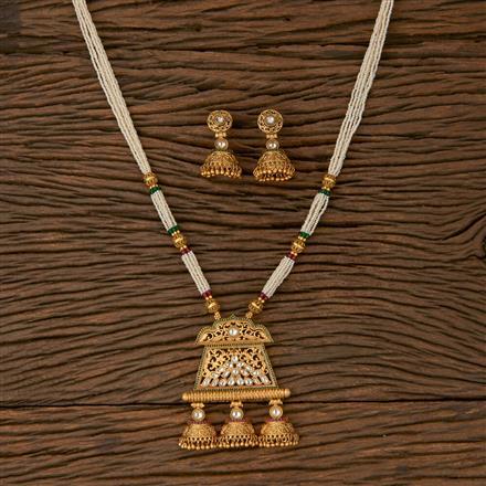 530050 Antique Mala Pendant set with Matte Gold Plating