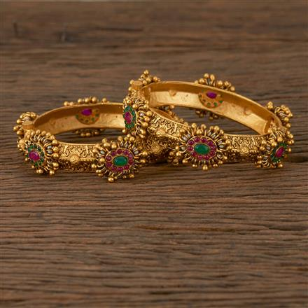 530064 Antique Openable Bangles with Matte Gold Plating
