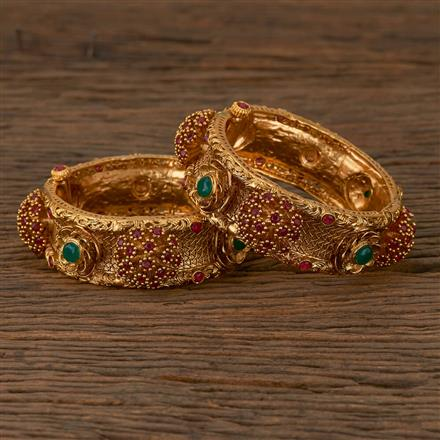 530065 Antique Openable Bangles with Matte Gold Plating