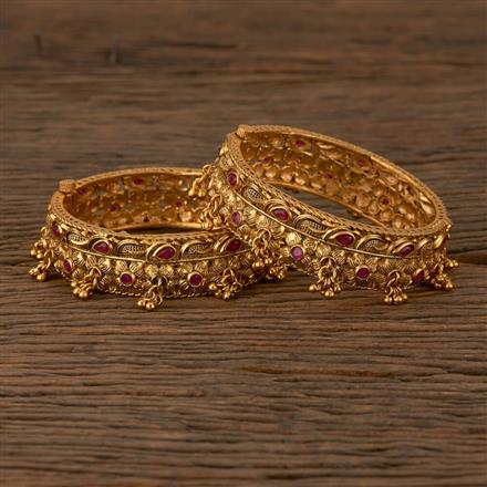 530067 Antique Openable Bangles with Matte Gold Plating