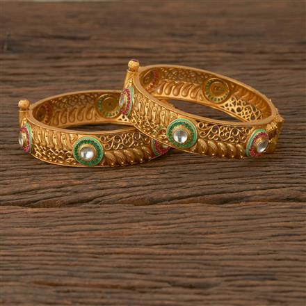 530068 Antique Openable Bangles with Matte Gold Plating