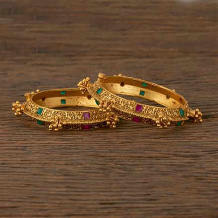 530069 Antique Openable Bangles with Matte Gold Plating