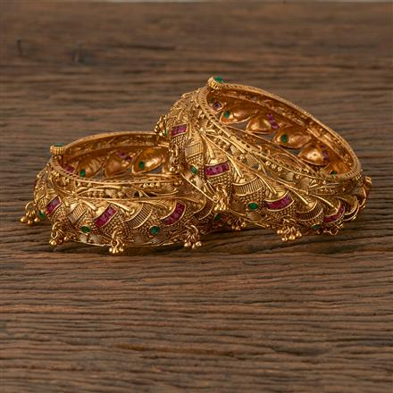 530070 Antique Openable Bangles with Matte Gold Plating