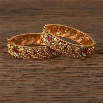 530071 Antique Openable Bangles with Matte Gold Plating