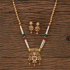 530076 Antique Mala Pendant Set With Matte Gold Plating