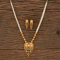 530078 Antique Peacock Pendant Set With Matte Gold Plating