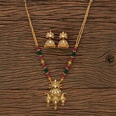 530081 Antique Mala Pendant Set With Matte Gold Plating