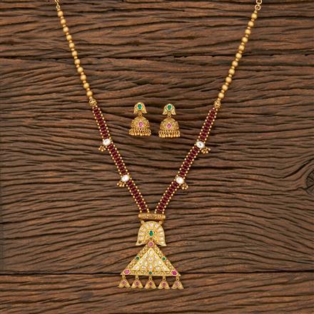 530085 Antique Mala Pendant Set With Matte Gold Plating