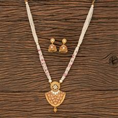 530087 Antique Mala Pendant Set With Matte Gold Plating
