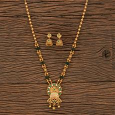 530088 Antique Peacock Pendant Set With Matte Gold Plating