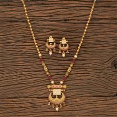 530090 Antique Mala Pendant Set With Matte Gold Plating