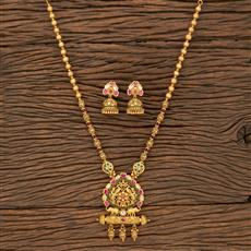 530093 Antique Peacock Pendant Set With Matte Gold Plating