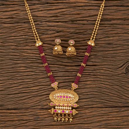 530095 Antique Mala Pendant Set With Matte Gold Plating