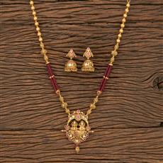 530102 Antique South Indian Pendant Set With Matte Gold Plating