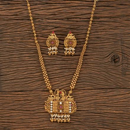 530107 Antique South Indian Pendant Set With Matte Gold Plating