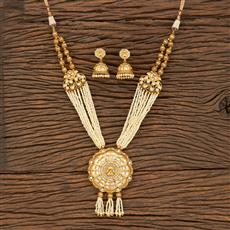 530116 Antique South Indian Pendant Set With Matte Gold Plating