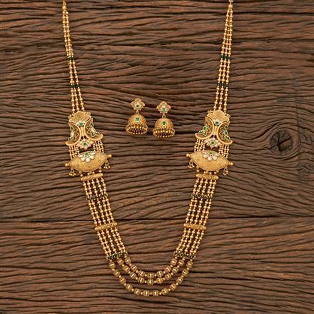 530123 Antique Mala Pendant Set With Matte Gold Plating