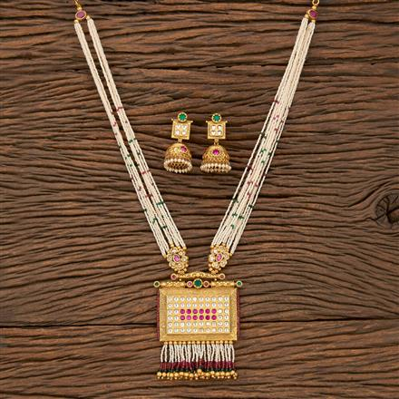 530126 Antique Mala Pendant Set With Matte Gold Plating