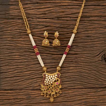 530127 Antique Peacock Pendant Set With Matte Gold Plating
