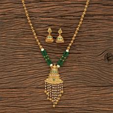 530128 Antique Mala Pendant Set With Matte Gold Plating