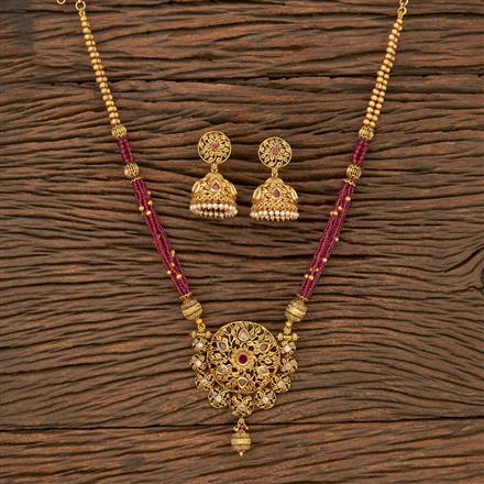 530131 Antique Mala Pendant Set With Matte Gold Plating